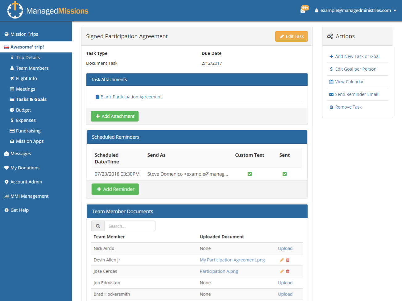 ManagedMissions | Short-Term Mission Trip Software