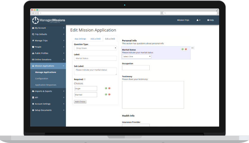 Manage Mission Applications